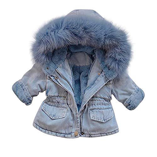 Kids Little Big Girls Winter Hooded Fur Collar Thick Denim Jacket Jean Coat Long Sleeve Warm Plush Faux Fur Fleece Zip Pocket Windproof Parka Down Outwear for Toddler Baby Boys Blue 3-4T
