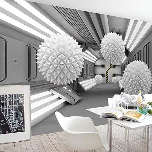 Fotobehang 3D driedimensionale ronde bal abstracte architectonische ruimte moderne stijl woonkamer TV achtergrond fotobehang-200 * 140cm