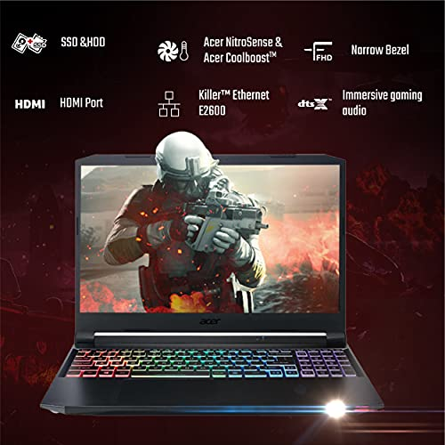 Acer Nitro 5 Intel Core i7-11th Generation 144 Hz Refresh Rate 15.6-inch (39.62 cms) Gaming Laptop (8GB Ram/1TB SSD/Win10/GTX 1650 Graphics/Obsidian Black/2.2 Kgs), AN515-56 + Xbox Game Pass for PC