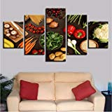 Decoración de la cocina Arte de la pared 5 Piezas Vegetales Seta Ají Patata Zanahoria Pinturas Alimentarias Impresión HD Imágenes Modulares