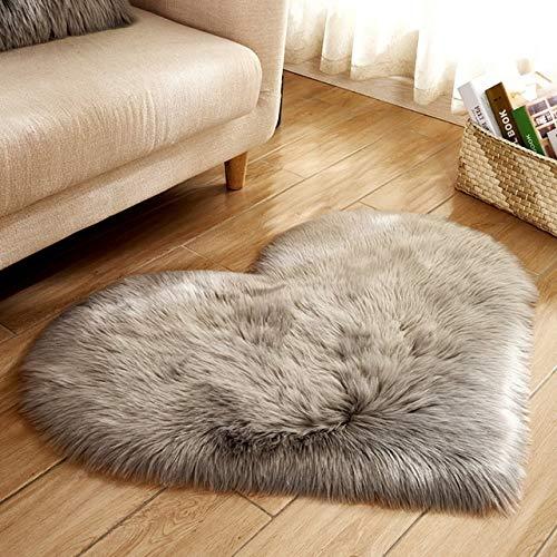 YSJJPQC Matta lurvig matta ull falska fluffiga mattor konstgjort fårskinn hårig matta kärlek hjärtmattor ingen ludd matta för vardagsrum (färg: Grå, storlek: 30 x 40 cm lång sammet)