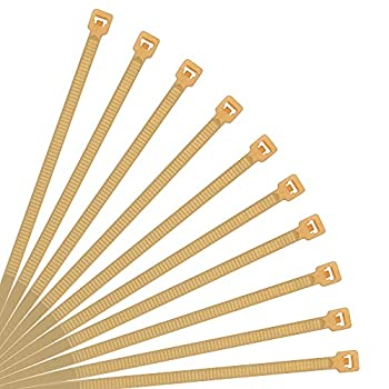 XINGO Nylon Cable Zip Ties Self Locking Plastic Wire Ties with 40 Lbs Tensile Strength for Indoor and Outdoor 6 Inch 500 Pack Gold