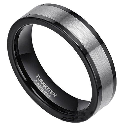 COPAUL Herren Wolfram 6MM gebürstet Schwarz Ring Komfort Fit Hochzeit Band, Größe 67 (21.3)