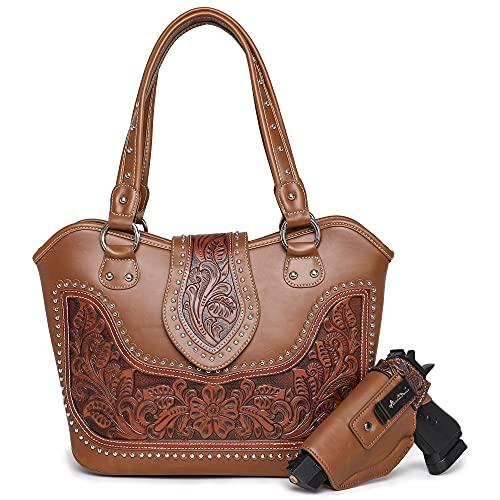 Montana West Women Leather Shoulder Bag Concealed Carry Handbag Fashion Tooling Tote Bag with Detachable Holster WRLH-8005BR