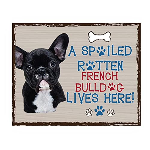 French Bulldog-Dog Poster Print-10 x 8' Wall Decor Sign-Ready To Frame.'A Spoiled Rotten French Bulldog Lives Here'. Perfect Pet Wall Art for Home-Kitchen-Cave-Garage. Great Gift for Frenchie Fans!