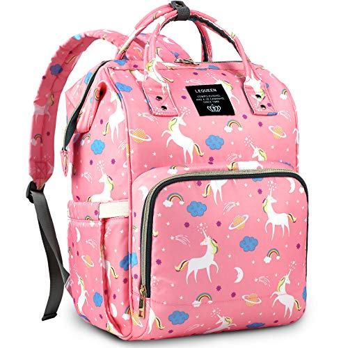 Diaper Bag Backpack Miger Baby Girl Boy Diaper Bag Cute Maternity Nappy Diaper Backpack Waterproof Unicorn Diaper Bags with Large Capacity Bottle insulation for Mom Dad (Pink)