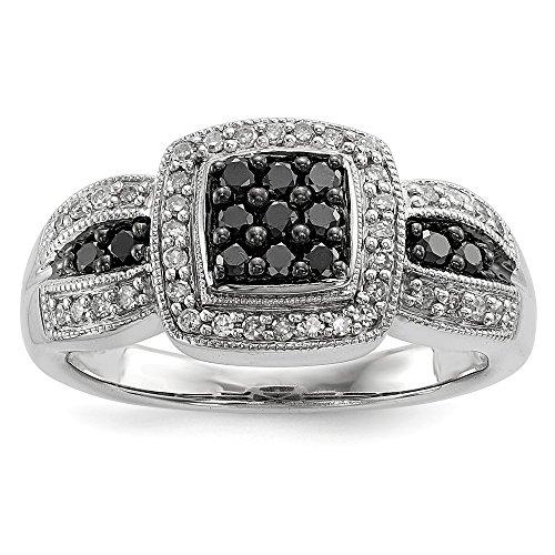DIAMOND2DEAL INC Anillo de Compromiso Cuadrado de Diamante Blanco y Negro DE 0,5 Quilates, tamaño 7