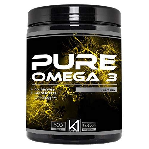K1 Nutrition PURE OMEGA 3 Fish Oil 500 Capsule Softgel da 1000 mg di K1 Nutrition Integratore di Omega 3 Olio di Pesce ad Alto Dosaggio EPA & DHA (500 PERLE)