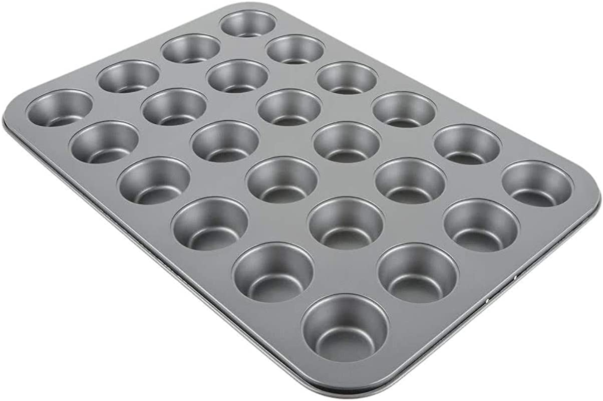 24 Cup Muffin Pan Cupcake Pan By Tezzorio 15 X 10 Inch Nonstick Carbon Mini Muffin Pan Professional Bakeware