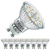 EACLL Bombillas LED GU10 Blanco Cálido 4.9W Reemplaza 50W Halógena, Pack de 8. Focos Sin Parpadeo AC 230V, 2700K 515 Lúmenes 120 ° Spotlight, Lámpara Reflectora no Regulable