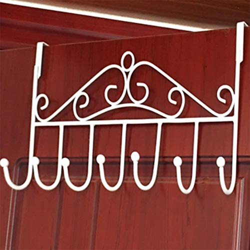 Hooks Over The Door Hook Organizer Rack Hanging , 7 Hooks, Over Door Storage Rack – Organizer Hooks for Coats, Hats, Robes, Clothes or Towels (White)