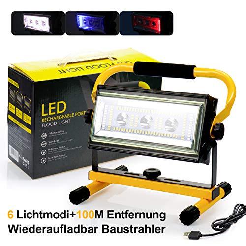 Led Baustrahler Akku Strahler - 30W Baulampe Arbeitsleuchte mit 6 Lichtmodi (300 bis 3000 Lumen), Arbeitsleuchte Tragbar, bis 10 Stunden Leuchtdauer, USB Ausgang-Ports, Außen Beleuchtung für Camping