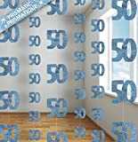 SHATCHI 50th Glitz Blue Anniversary Birthday Metallic Hanging String Shiny Foil Banner Party Door Wall Decorations Pack of 6