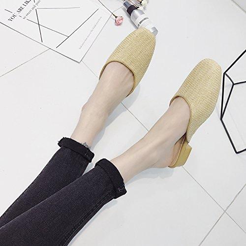 Qingchunhuangtang@ Carreau tissé Chaussons Sandales Sandales avec du printemps