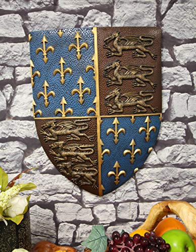 Ebros Gift Large Medieval Kingdom Knight Coat of Arms Le Fleur Symbols And 3 Dragons Royal Shield Wall Decor Plaque In Maroon And Blue Colors 19' Tall Heraldry House Of Nobility Symbols