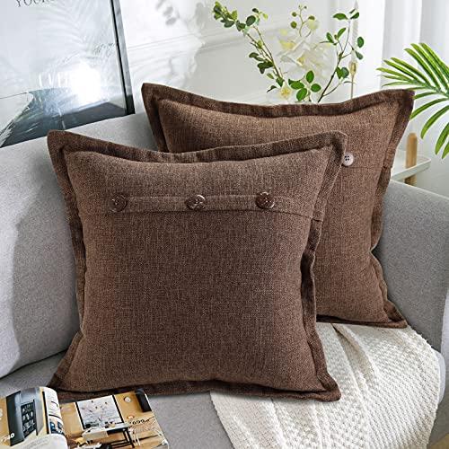 AllmarkHomes Fundas De Cojines Sofa Cojines Decorativos Funda Cojin 45x45 cm Cojines Sofa Para Sofa Con Cojines Fundas Almohadones (Marrón Set De 2)