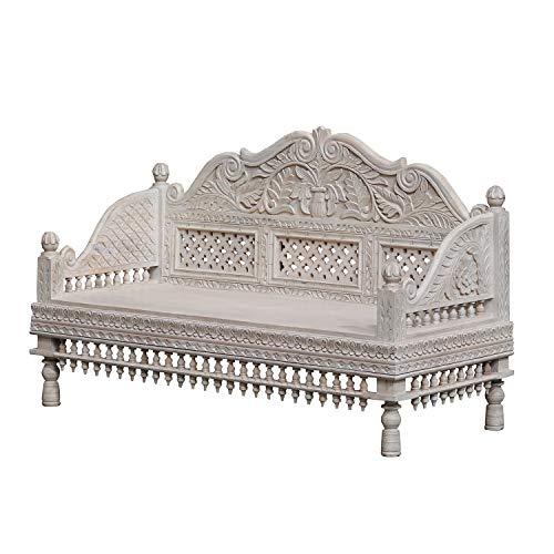 Casa Moro Orientalisches Sofa Farwa 148x62x91 cm (B/T/H) aus Massiv-Holz handgeschnitzt in Shabby Chic weiß | Kunsthandwerk | Salonsofa Diwan Prunksofa Sitzbank aus Echtholz in Kolonial-Stil | CAC250