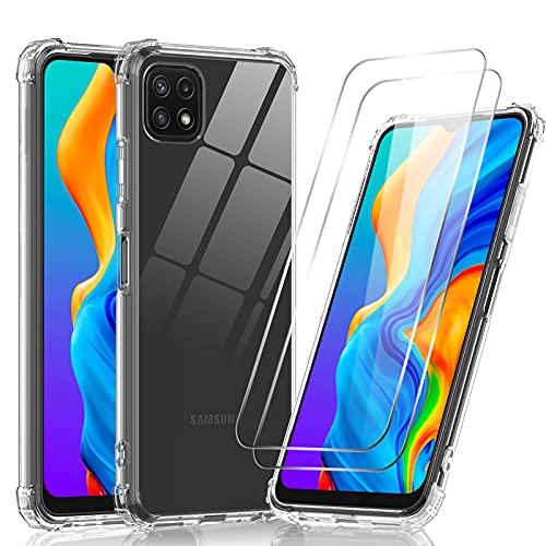 LeYi Funda para Samsung Galaxy A22 5G con [2-Unidades] Cristal Templado, Carcasa Armor Transparente Silicona Skin TPU Gel Bumper Ultra Slim Case Antigolpes Protector Cover para Samsung A22 5G, Clear