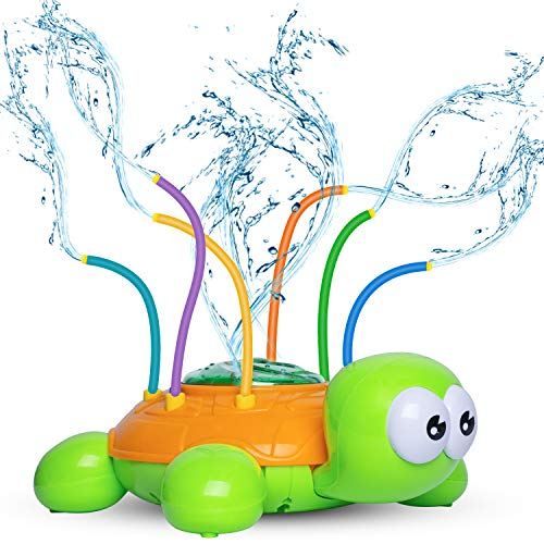 Kids Sprinklers for Yard Flower, Sprinkler Toy for Babies and Toddlers Outdoor Water Toys - Lifetime Replacement Guarantee - Backyard Sunflower Sprinkler Toy with Wiggle Tubes, Attaches to Garden Hose