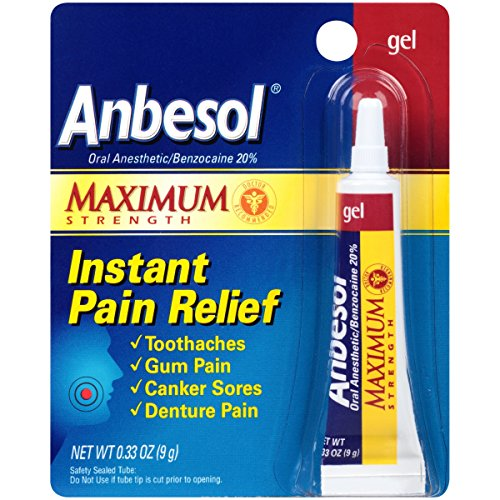 Anbesol Gel Maximum Strength - Instant Oral Pain Relief for Toothaches, Canker Sores, Sore Gums, Denture Pain - 0.33 oz