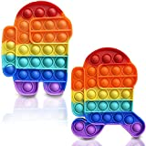 DOBKDTUYS 2 Pcs Silicone Tie-dye Push pop Bubble Fidget Toy, Autism Special Needs Stress Reliever, Squeeze Sensory Toy Relieve Emotional Stress for Kid Adult