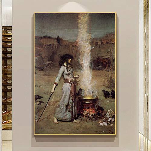 wZUN Ritratto di Donna su Tela Dipinto Cerchio Magico Poster Stampa Parete Soggiorno Immagine 60x90 Senza Cornice