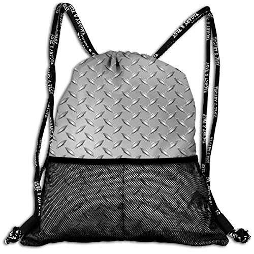 AZXGGV Drawstring Backpack Rucksack Shoulder Bags Gym Bag Sport Bag,Wire Fence Design Netting Display with Diamond Plate Effects Chrome Kitsch Motif Print