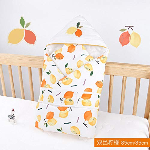 Neutral Swaddle Blanket Baby Sleeping Bag Baby Quilt, Autumn And Winter, New Cotton Newborn Bag, Warm Cartoon, Hooded@Two-Tone Lemon_85*85 Child Comfort Quilt