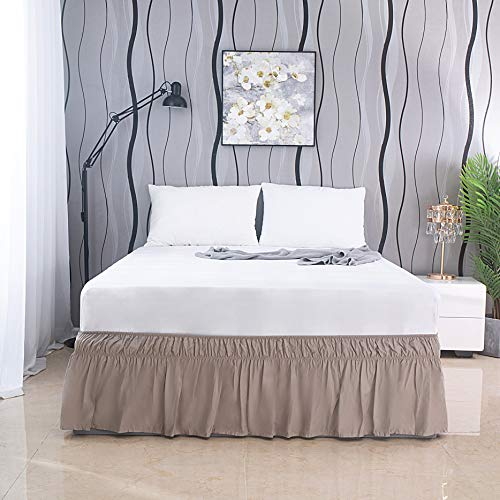 AYASW Bed Skirt 13-14 Inch Drop Dust Ruffle Three Fabric Sides Wrap Around with Elastic No Top Easy On (Queen Light Taupe)