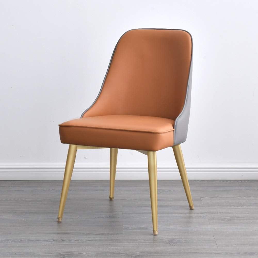 LJFYXZ Chaises Salle Manger Faux Cuir Chaise de Salon Rembourrage éponge Haute densité Chaise de Bureau de Loisirs Fer forgé Porteur 150kg (Color : Gray) Brown