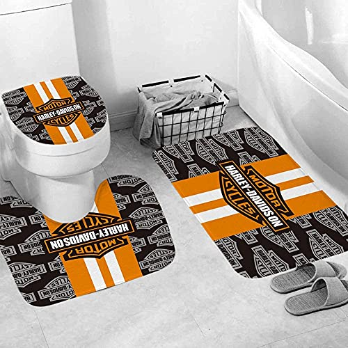 """4 Pcs Sets Harley Davidson Shower Curtain Sets with Non-Slip Rugs, Toilet Lid Cover and Bath Matand 12 Hooks,Machine Washable Polyester Waterproof Fabric Bathroom Shower(72""""X 72""""inch)"""