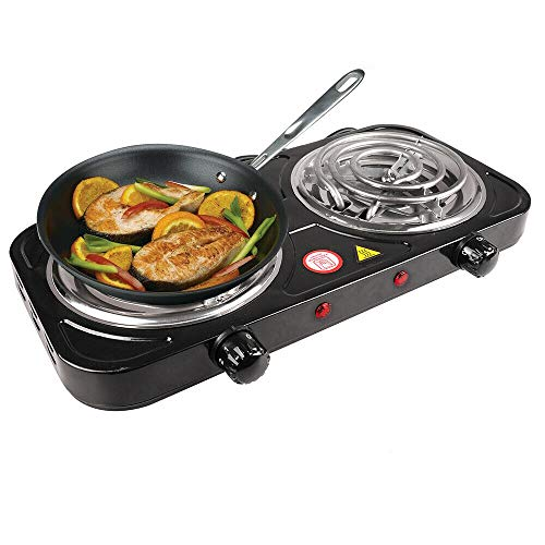 Best Review Of Cypress Shop Double Burner Tabletop Stove Portable Electric Hot Heating Plate Tube 20...