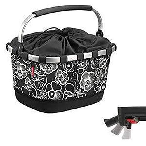 KLICKfix Unisex– Erwachsene Carrybag GT Einkaufskorb, Fleur schwarz, 24 Liter