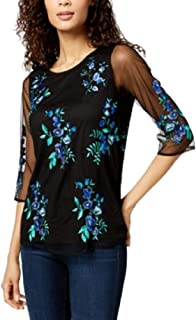 Charter Club Embroidered 3/4-Sleeve Top