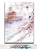 Chino Antiguo Edificio De La Casa Palacio Torre Paisaje Diy Colorante Pinturas Por Nmeros Con Kits Sobre Estilo Tradicional Chino 40X50Cm