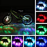 TINANA Rechargeable Bike Wheel Hub Lights Waterproof LED Cycling Spoke Lights 7 Color Bicycle Safety Warning Decoration Light for Kids and Adults Night Riding (2 Pack)