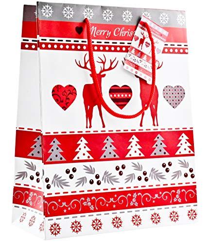 Bambelaa! 12 stuks hoogwaardig kerstmotief hert rood wit papieren zakjes geschenktasjes presentatiezakjes papieren zak kersttas Kerstmis 128 g papier, mat (ca. 18 x 8 x 23 cm).