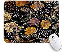 印刷されたマウスパッド日本のアジアの花と鯉伝統的な、ゲームプレーヤーのための装飾的なマウスパッドオフィス、机の装飾、9.5x7.9インチ