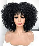 ANNIVIA 14inch Bomb Afro Kinky Curly Wig with Bangs Short Curly Wig 1B