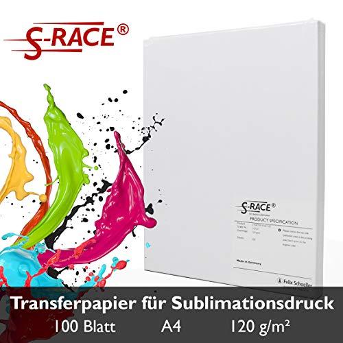 S-RACE Sublimationspapier DIN A4 100 Blatt 120g/m² - geeignet für Inkjet Drucker mit Sublimationstinte - schnell trocknend, wischfest