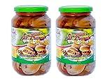 Al Dayaa Makdous Stuffed Baby Eggplant in Oil 2 Glass Jars N.W 35oz./1kg each. مكدوس باذنجان الضيعة