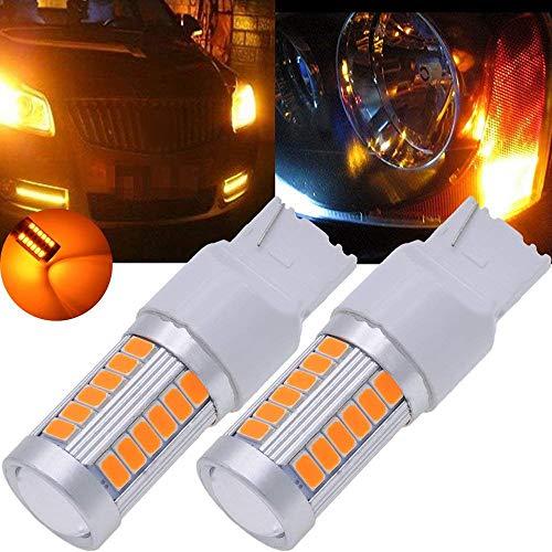Gesh 7440, T20 Bombillas LED ámbar amarillo 900 lúmenes súper brillantes intermitentes, luz de freno, luz de estacionamiento, luz de marcha atrás, luz trasera, bombilla de 12 V 3,6 W (paquete de 2)