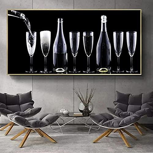 Tamaño Grande 5D Diy Diamante Pintura Bordado Vino Tinto Copa De Vino Bar Restaurante Decoración De Punto De Cruz De Diamantes De Imitación Para El Arte Del Hogar,30x60cm(12x24inch)