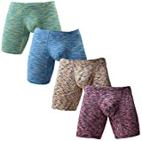 NEIKU Men's Long Leg Underwear Sexy Boxer Briefs with Pouch Low Rise Undies 4 Pack M
