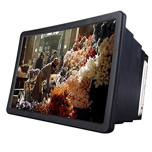 8.2 '' Screen Magnifier Smartphone Vergrootglas, Enlarger scherm voor mobiele telefoon, Movie Video Screen Amplifier Bracket Opvouwbaar standhouder voor Smartphone (Black, One Size),Black