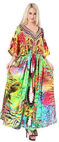 LA LEELA Mujeres caftán túnica 3D HD Impreso Kimono Libre tamaño Largo Abaya Vestido Jalabiyas de Fiesta para Loungewear Ropa de Dormir Playa Todos los días Cubrir Vestidos Multicolor_A825