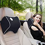 FLY OCEAN 2 Pack Car Neck Pillow,Neck Pain Relief Pillow,100% Soft Memory Foam,Washable Cover,Ergonomic Design,Adjustable Strap,Over 5 Yrs Service Life(Black)