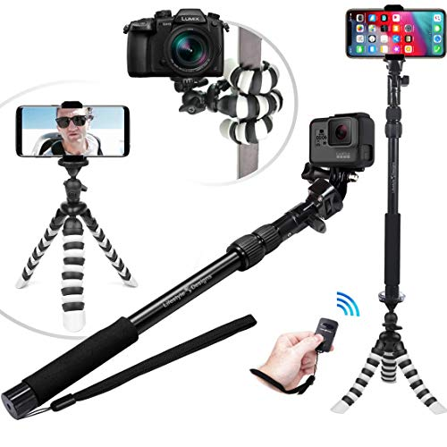 New HD Flexible Tripod & Selfie Stick 6-in-1 Kit w/Bluetooth Remote – Best Video & Vlog Stand for Any Phone, GoPro or Camera: iPhone Xs Max/XS/X / 8/7 / 6 / Plus, Samsung S9, Hero 7, etc.