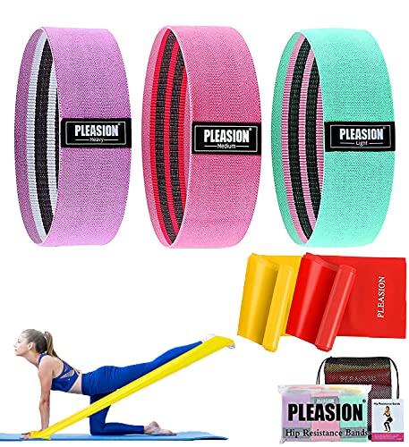 Bandas Elasticas Musculacion Set, 3 Banda de Resistencia de Tejido Antideslizante + 2 Bandas Elasticas Fitness, Bandas...