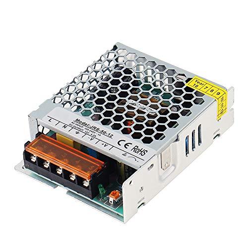 Alimentatore 50W, Trasformatore di Tensione DC 12V Switch per Striscia LED, Illuminazione, Apparecchiature Elettroniche, Telecamere, INPUT 200V-240V AC, 1 Pezzo, MWL1250